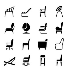 chair icon set in side view vector image