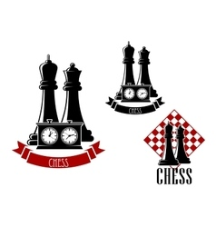 Chess tournament icons with chessmen vector