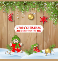 Christmas background with ornaments vector