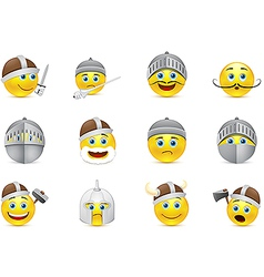 collection of knights emoticons vector image vector image