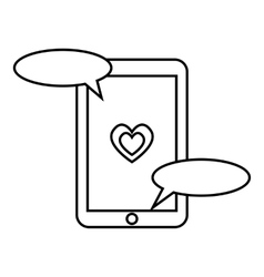 Communication in mobile phone icon outline style vector