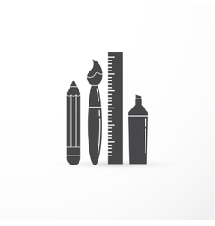 education creativity pen pencil brush vector image
