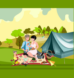 Family in nature with a tent vector