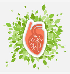 Flat - human heart with green vector