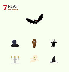 flat icon festival set of candlestick witch cap vector image