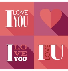 Flat lettering I love you vector image vector image