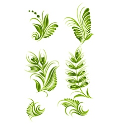 flower green elements vector image vector image