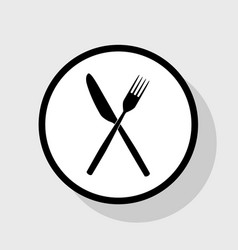 Fork and knife sign flat black icon in vector