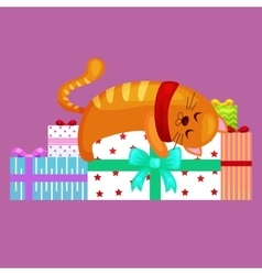 Happy cute cat with christmas gifts kitten with vector
