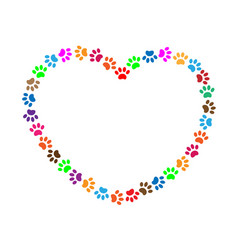 Heart frame of multicolored animal paw prints vector