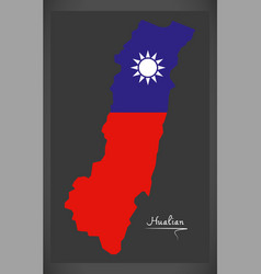 Hualian taiwan map with taiwanese national flag vector