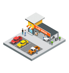Isometric building car care wash service vector