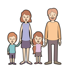 light color caricature thick contour family group vector image vector image