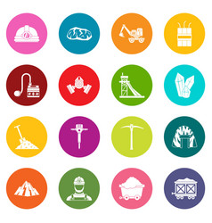 Miner icons many colors set vector