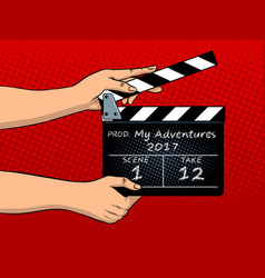 movie clapperboard pop art vector image