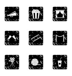 Movie theater icons set grunge style vector
