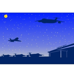 night airport vector image vector image