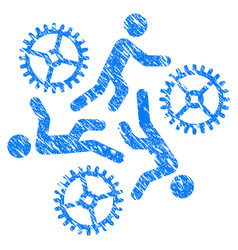 Running persons for gears grunge icon vector