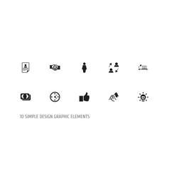 set of 10 editable job icons includes symbols vector image