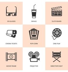 Set of black cinema icons vector image
