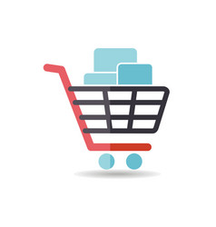 Shopping cart with boxes icon vector