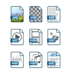 Simple bright blue file icons with extensions vector image