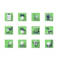 Square flat green icons for golf sport vector