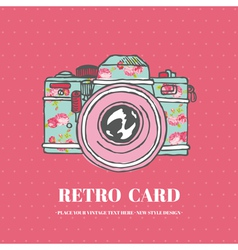Vintage Photo Camera with Flowers - hand-drawn vector image
