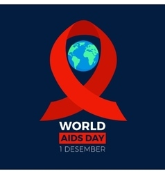 World aids day icon earth sphere with the red vector
