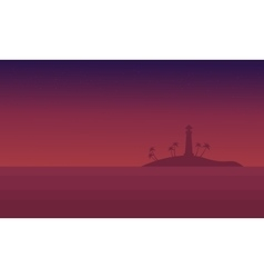 Scenery seaside at night of silhouette vector