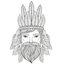 Zentangle portrait of man with mustache beard war vector
