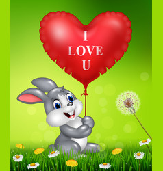 Cute bunny holding red heart balloons on green gra vector