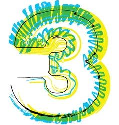 Sketch font number 3 vector
