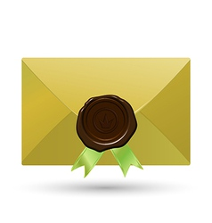 Envelope with seal and green ribbons vector
