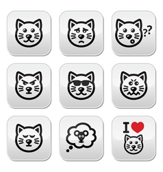 Cat buttons set - happy sad angry isolated on wh vector