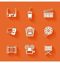Set of white cinema movie icons vector