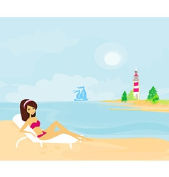 Summer beach girl in bikini vector