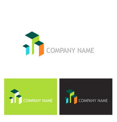 3d building colored logo vector image