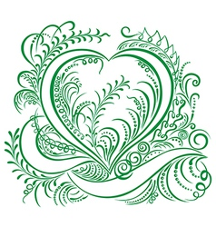 Heart calligraphy green vector