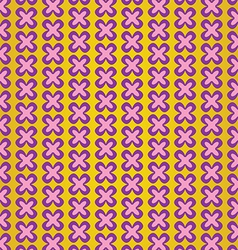 Cute violet flower on yellow background pattern vector
