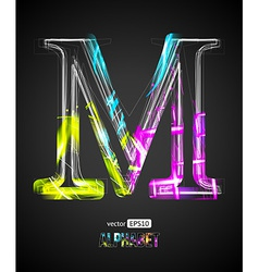 Design light effect alphabet letter m vector
