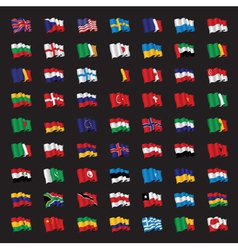 Bunch of world flags vector