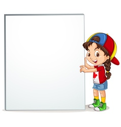 Little girl holding empty sign vector
