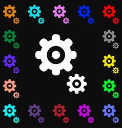Gears icon sign lots of colorful symbols for your vector