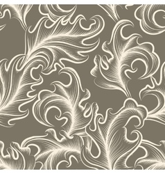 Victorian leaves seamless pattern vector