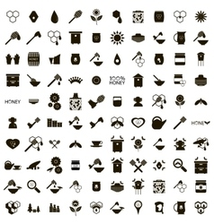 100 apiary icons set vector