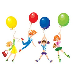 cute girls flying away on balloons vector image