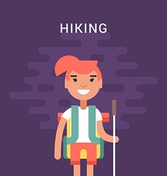 Hiking concept smiling young girl with backpack vector