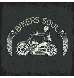 Bikers theme grunge label with skeleton on vector