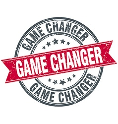 Game changer red round grunge vintage ribbon stamp vector